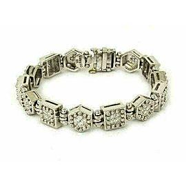 Ivan & Co 1.00ct Diamond 18k White Gold Octagon & Square Link Bracelet