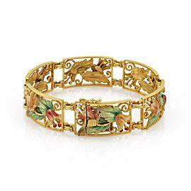 Masriera Multi Color Enamel 18k Gold Floral Link Bracelet - RARE!