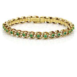 Designer Signed Emerald Diamond Link Bracelet in 18k Yellow Gold ( 2.90 ct tw )