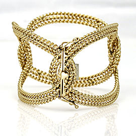 Woven Rope Large Oval Links Statement Bangle Bracelet in 14k Yellow Gold