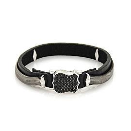 Stephen Webster High Wayman Sterling Black Sapphires & Leather Shield Bracelet