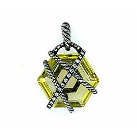 David Yurman Diamond Lemon Citrine Sterling Silver Cable Wrap Pendant