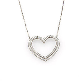 Tiffany & Co. Large Metro Diamond Platinum Heart Pendant Necklace