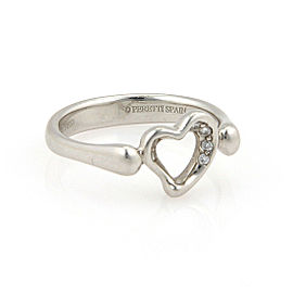 Tiffany & Co. Peretti Platinum Diamond Open Heart Ring Size 5