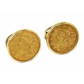 Pair of 22k Gold 1883 Coins Cufflinks in 14k Yellow Gold Round Frame