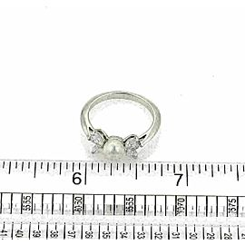 Tiffany & Co. Diamond Pearl Platinum Floral Band Ring