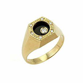 Waltham Rotating Diamond Onyx 18k Yellow Gold Octagon Ring