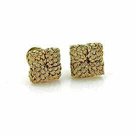 John Hardy 18k Yellow Gold Basket Weave Square Post Clip Earrings