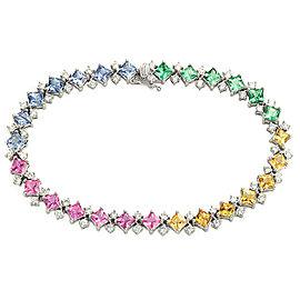 "10.41 CT Multi Color Sapphire & 2.10 Diamonds in 18K White Gold Bracelet Size 7"""