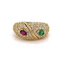 Hammerman Brothers 1.50ct Diamonds Ruby & Emerald 18k Yellow Gold Ring