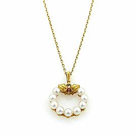 Mikimoto Akoya Pearls & Ruby Wreath 18k Yellow Gold Pendant