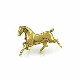 Estate 14k Yellow Gold Ruby 3D Horse Brooch Pin