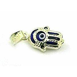 Mini Good Luck Eye Blue Enamel 14k Yellow Gold Hamsa Hand Charm