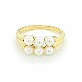 Mikimoto 6 Akoya Pearls 18k Yellow Gold Band Ring