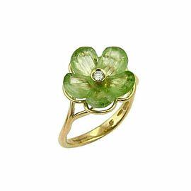 Salvatore Ferragamo Diamond & Green Peridot 18k Gold Flower Ring