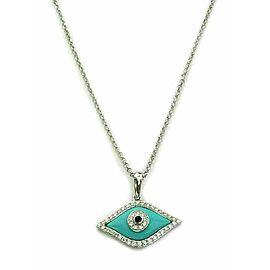 Diamond Turquoise SapphireGood Luck Eye Pendant 18k White Gold Necklace