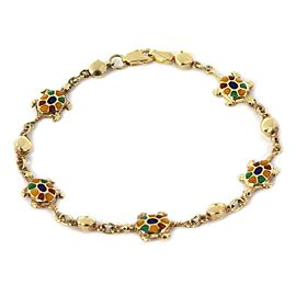 Multi-Color Enamel Turtle 14k Yellow Gold Charms Bead Bracelet