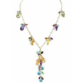 BH Signed Multicolor Gems Bead Dangle Pendant 14k Yellow Gold Necklace