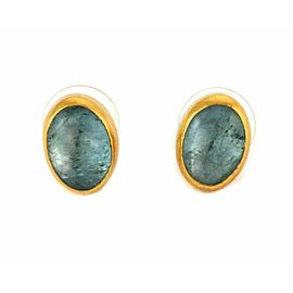Gurhan Aquamarine 24k Gold Oval Stud Earrings Rt. $3,000