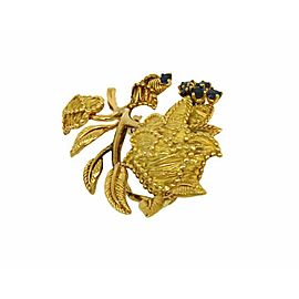 Tiffany & Co. 18k Yellow Gold Sapphire Floral Leaf Pin