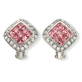 2.16 CT Natural Pink Sapphire & 1 CT Diamonds in 18K White Gold Omega Earrings