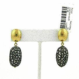 Gurhan PASTICHE Sliced Diamond 24k Gold & Sterling Dangle Oval Earrings $6,150