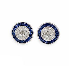 1.09 CT Natural Blue Sapphire & 0.89 CT Diamonds18K White Gold Stud Earrings