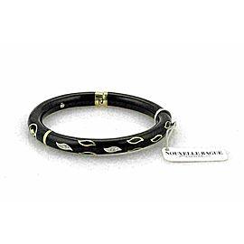 Nouvelle Bague Diamond Black Enamel 18k/Sterling Bangle Bracelet NWT