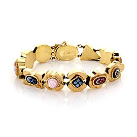 Multicolor Gems Floral Cameo 14k Yellow Gold 11 Slide Charms Bracelet