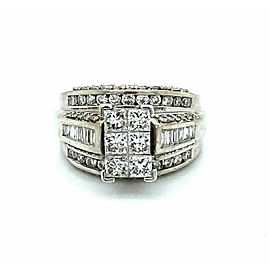2.00ct Diamond 14k White Gold 3 Row Band Engagement Ring