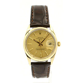 Vintage ROLEX Oyster Perpetual Date 34mm Gold Shell Men's Watch