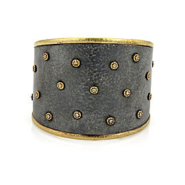 Gurhan Imperial Diamond 24k Gold Sterling Wide Tapered Cuff Bracelet