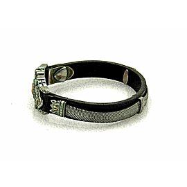 Stephen Webster Sterling Black Rhodium Rose Gold Leather Bracelet