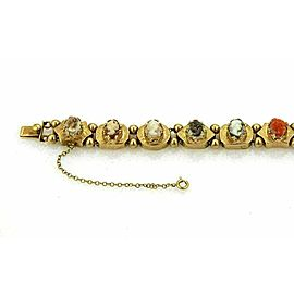 Estate Coral Mother of Pearl & Shell Cameo 14k Yellow Gold Slide Bracelet
