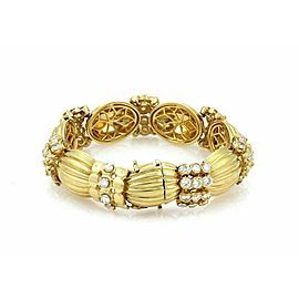 Heavy Solid 18k Yellow Gold 9.00ct Diamonds Ribbed Link Bracelet