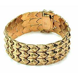 Estate 18k Rose Gold Pyramid Style 22mm Wide Flex Link Bracelet