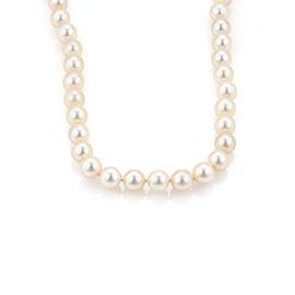 Vintage 7.5mm Cultured Pearls Single Strand 14k Gold & Diamond Necklace
