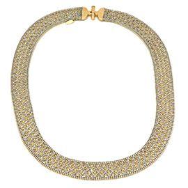 Christian Tse Platinum 18k Yellow Gold Reversible Wide Mesh Collar Necklace