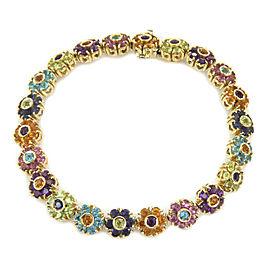 Pasquale Bruni Multicolor Gems 18k Yellow Gold Flower Link Bracelet