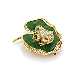Waltham Diamond Emerald Enamel Spinning Frog on Lily Pad Pendant Brooch Pin