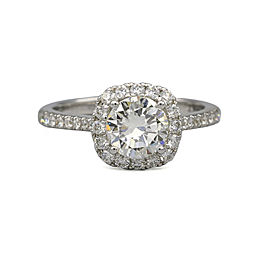 1.03 ct GIA Certified Round Diamond Halo Engagement Ring in 18k White Gold