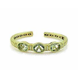 Judith Ripka Prasiolite Diamond 18k Gold 3 Stones Hinged Cuff Bracelet