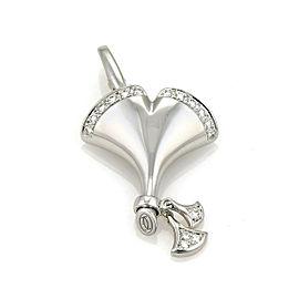 Cartier Ginkgo Diamond 18k White Gold Leaf Charm Pendant