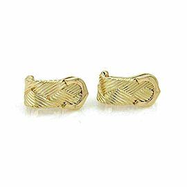 Cartier Double C Diamond Basket Weave 18k Yellow Gold Earrings