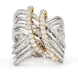 1.93 Carat 18k White Yellow Gold Diamond Wide Band Ring Signed H