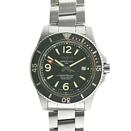 Breitling A17367 Superocean Black Dial 44mm Stainless Steel Watch COMPLETE