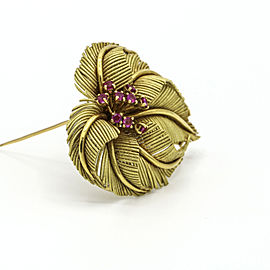 Tiffany & Co. Vintage Ruby Brooch in 18k Yellow Gold Italy