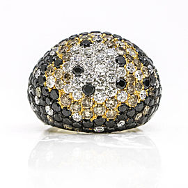 Black and White Diamond Bombe Dome Ring in 18k White Gold ( 10.25 ct tw )