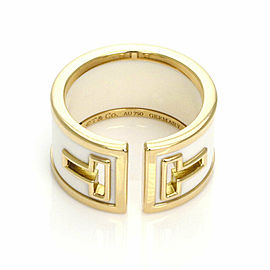 Tiffany & Co. T Cut White Ceramic 18k Yellow Gold Wide Band Ring