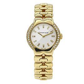 Tiffany & Co. Ladies 18k Gold Tesoro Watch with Diamond Bezel and Dial
